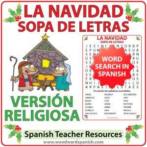 Spanish Word Search withReligious Christmas Vocabulary. Sopa de Letras - Vocabularioreligioso relacionado conla Navidad en español.