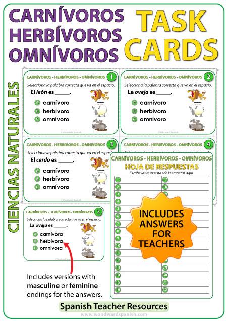 Animales Carnívoros, Herbívoros y Omnívoros - Spanish Task Cards.