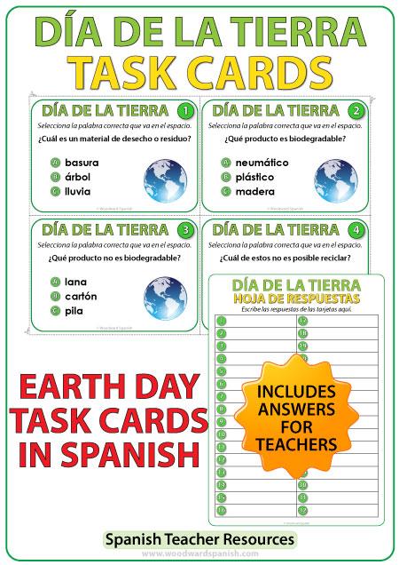 Día de la Tierra Spanish Task cards - Earth Day