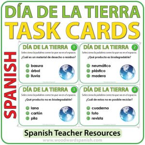 Task cards to help learn and Earth Day and the environment in Spanish. Tarjetas de selección múltiple para aprender acerca del Día de la Tierra en español.