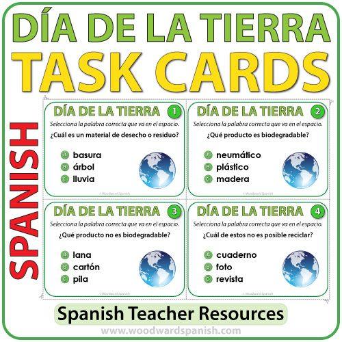 Task cards to help learn and Earth Day and the environment in Spanish. Tarjetas de selección múltiple para aprender acerca del Día de la Tierraen español.