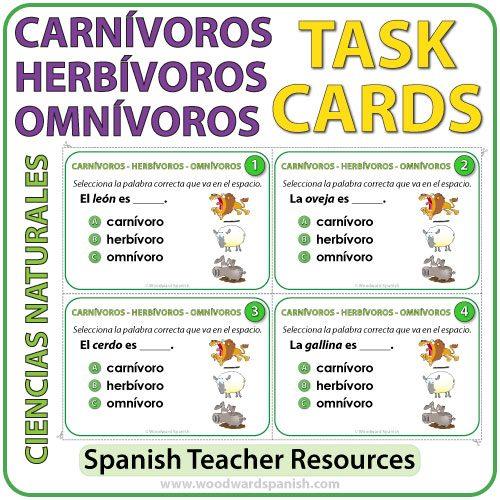 Spanish Task Cards - Animales Carnívoros, Herbívoros y Omnívorosen español.
