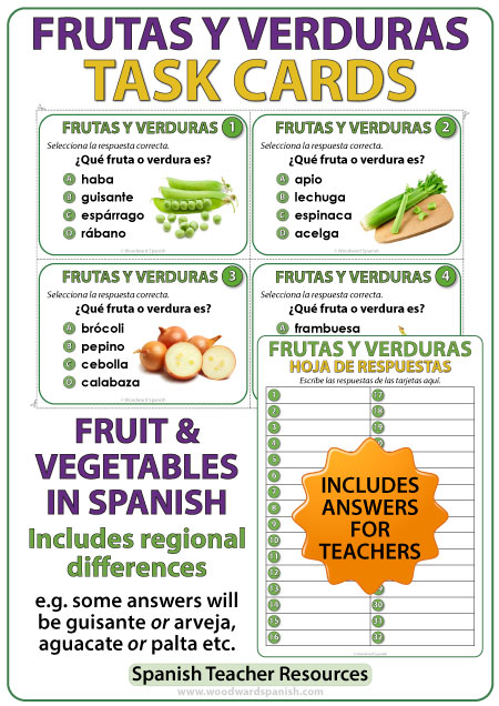 Spanish Task Cards - Fruit and Vegetables - Frutas y Verduras