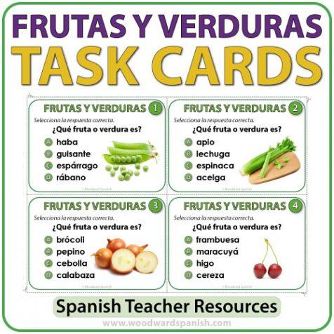 Spanish Fruit and Vegetables Task Cards - Frutas y Verduras en español