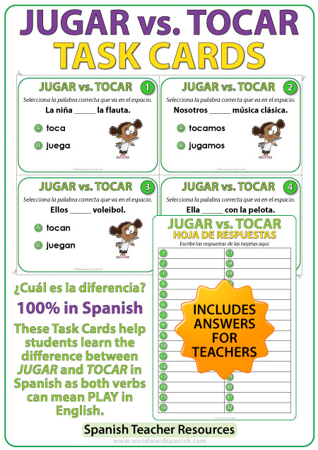 jugar vs tocar spanish task cards woodward spanish. Black Bedroom Furniture Sets. Home Design Ideas