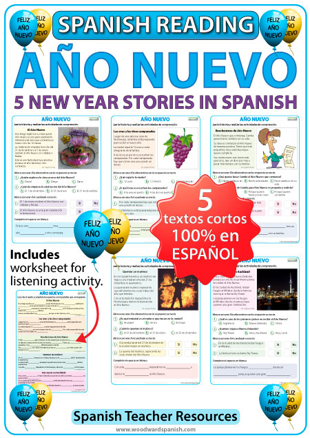 New Year stories in Spanish - Reading resource - Lecturas acerca del Año Nuevo en español