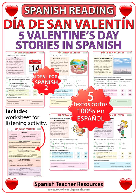 Día de San Valentín - 5 historias cortas - 5 stories in Spanish about Valentine's Day