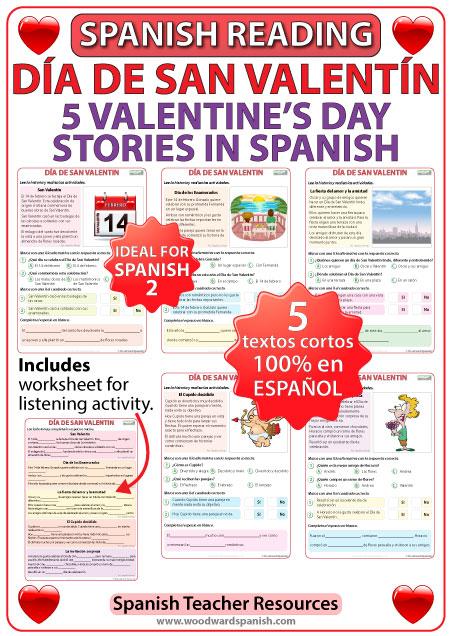 Día de San Valentín - 5 historias cortas - 5 stories in Spanish about Valentine's Day