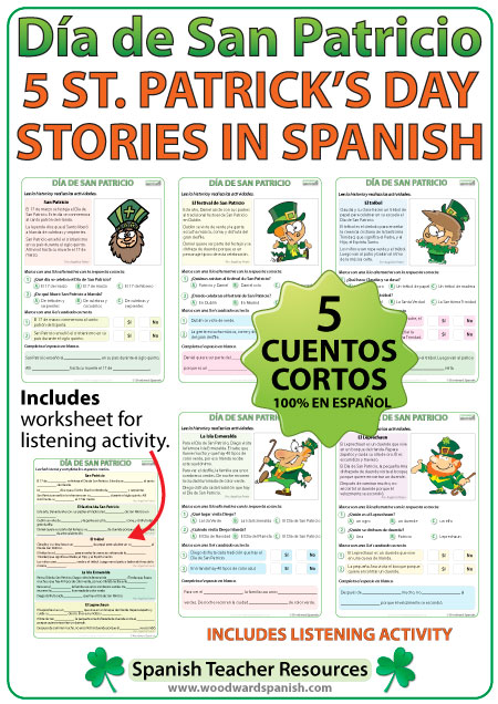 Stories in Spanish about Saint Patrick's Day - Día de San Patricio - 5 cuentos cortos en español